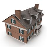 Casa colonial bonita no branco Ângulo de acima ilustração 3D Imagens de Stock Royalty Free