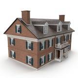 Casa colonial do estilo do grande vintage de duas histórias no branco ilustração 3D Imagens de Stock Royalty Free