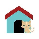 casa colorata animale lanuginoso del gatto illustrazione di stock