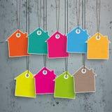 Casa coloreada de 9 etiquetas engomadas del precio concreta Imagenes de archivo