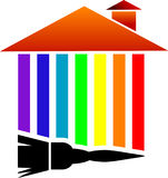 Casa colorida com escova de pintura ilustração stock