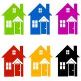 A casa colorida mostra em silhueta a arte de grampo Fotografia de Stock Royalty Free