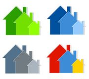 A casa colorida mostra em silhueta a arte de grampo Imagem de Stock