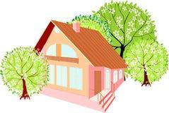 Casa com árvores da mola Imagens de Stock