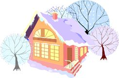 Casa com árvores do inverno Foto de Stock