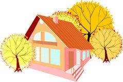Casa com árvores do outono Fotografia de Stock Royalty Free