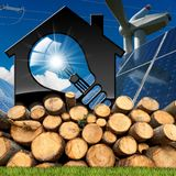 Casa com ampola e recursos renováveis Fotografia de Stock