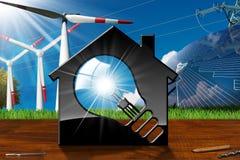 Casa com ampola e recursos renováveis Imagem de Stock