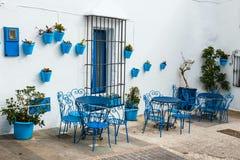Casa com as flores em uns potenciômetros azuis em Mijas, a Andaluzia, Espanha Foto de Stock