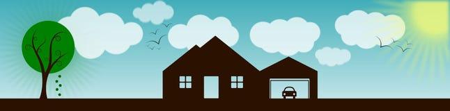 Casa com bandeira da paisagem Fotos de Stock Royalty Free