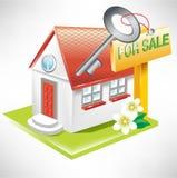 Casa com chave e para o sinal da venda Imagem de Stock Royalty Free