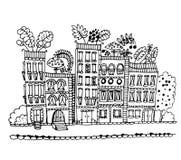 Casa com cogumelos e folhas no gráfico do telhado Imagens de Stock Royalty Free