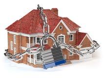 Casa com corrente e fechamento Conceito da segurança Home ilustração stock