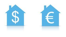 A casa com dólar e euro- assinam dentro   Foto de Stock