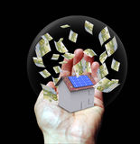 Casa com a energia solar para fazer o dinheiro Imagem de Stock