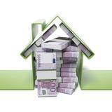 Casa com euro Imagens de Stock