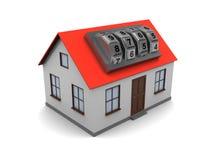 Casa com fechamento de combinação Fotografia de Stock Royalty Free