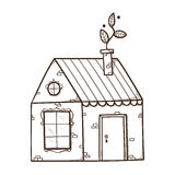 Casa com a folha como o fumo da chaminé Imagem de Stock