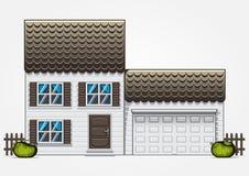 Casa com garagem Fotografia de Stock Royalty Free