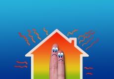Casa com ilustração da perda de calor elevado Fotografia de Stock