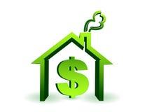 Casa com a ilustração do ícone do sinal de dólar isolada Fotografia de Stock Royalty Free