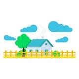 Casa com ilustração e as nuvens lisas da árvore Ilustração lisa moderna do vetor do projeto do fundo Fotografia de Stock Royalty Free