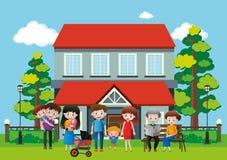 Casa com muitos povos na família ilustração royalty free