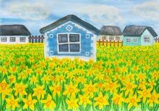 Casa com narcisos amarelos Fotos de Stock