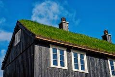 Casa com o telhado da grama em Torshavn, Dinamarca Constru??o amig?vel de Eco Arquitetura e projeto Lugar do destino Ecologia foto de stock royalty free