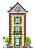 casa com obturadores verdes Fotos de Stock Royalty Free
