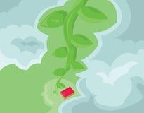 Casa com opinião superior de Red Roof com nuvens Fotos de Stock