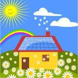 Casa com painéis solares Foto de Stock Royalty Free