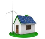 Casa com painéis solares e turbina eólica Imagem de Stock Royalty Free