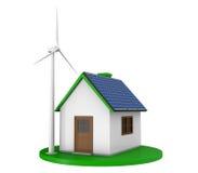 Casa com painéis solares e turbina eólica Imagem de Stock
