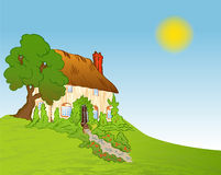 Casa com plantas. Fundo do vetor ilustração royalty free