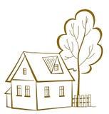 Casa com uma árvore, pictograma Imagens de Stock Royalty Free