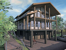 Casa com vertentes e a garagem de madeira imagem de stock royalty free