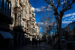 Casa Comalat en Barcelona España fotos de archivo