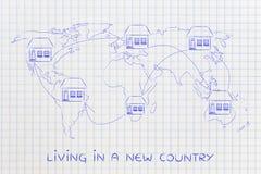 Casa commovente attraverso il mondo, vita del expat Immagine Stock