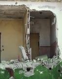 Casa completamente destruída com as paredes quebradas Imagens de Stock Royalty Free