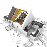 Casa con capas y planes expuestos de la azotea Fotografía de archivo