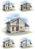 Casa con el ajuste del apartadero ilustración del vector