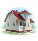 Casa con el ajuste del apartadero. Ejemplo detallado. ilustración del vector