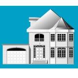 Casa con el garage stock de ilustración