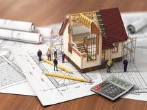 Casa con el interior abierto encima de modelos ilustración del vector