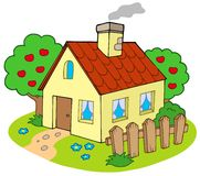 Casa con el jardín Foto de archivo libre de regalías