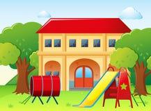 Casa con el patio en la yarda libre illustration