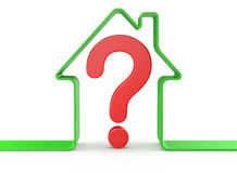 Casa con el signo de interrogación Imagen de archivo