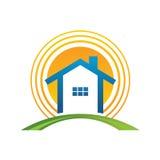 Casa con el sol Foto de archivo libre de regalías