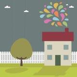 Casa con humo libre illustration